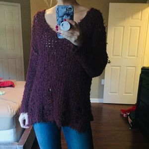 Like New Free People Distressed VNeck Sweater M